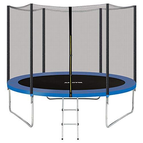 AMGYM Gartentrampolin Outdoor Trampolin Kindertrampolin 244 cm, Sprungfedern innovatives Elastik Sprungssystem, inkl. Sicherheitsnetz, Witterungsbeständig Belastbar 200 Kg TÜV GS EN71 Zertifiziert