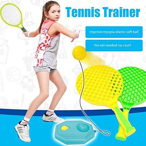N-brand Dispositivo de práctica de Tenis Dispositivo de Entrenamiento de Tenis Individual Cuerda elástica elástica para el hogar Niños Adultos Deportes de Ocio al Aire Libre Entretenimiento Familiar
