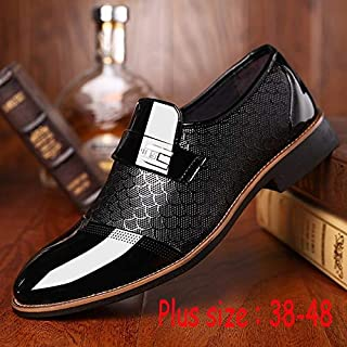 Men's Hoe Sell British Style Casual Slip on Comfortable Shoes Comfortable Leather Shoes Man Flat Oxford Dress Shoes Wedding Pointed Toe Shoes Business Formal Shoes Plus Size 38-48(43,Black)