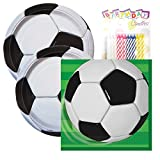 Soccer Birthday Party Tableware Plates and Napkin Bundle with 24...