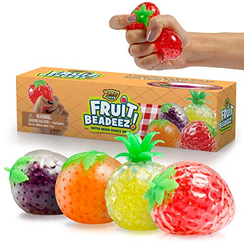 Beadeez Squishy Fruit Stress Balls Toy (4-Pack) Tropical Designs Filled with Colorful, Squeezable Gel Water Beads - Promote Stress Relief, Calm Focus, Fun Play - Girls, Boys, Adults