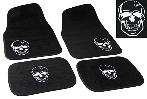 Carparts-Online 30774 Universal PKW KFZ Auto Fußmatten Totenkopf schwarz Set 4-teilig