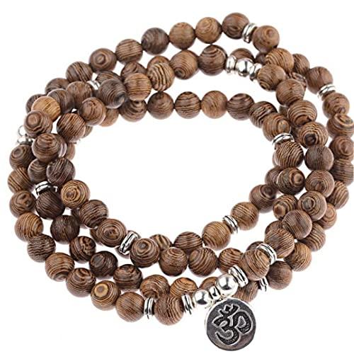 Froiny 108 Cuentas con Cuentas Madera Multicapa Buda Meditación Tibetan Charm Rosario Pulsera Yoga para Mujeres Y Hombres
