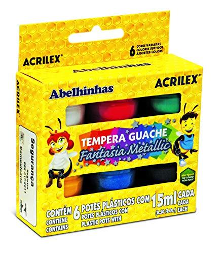 Tinta Guache x 6 Unidades, Acrilex 02002, Multicor, 15 ml