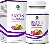 Biotin 10,000 mcg – Hair, Skin, and Nails Vitamins for Women and Men – 60 Servings – Easy to Swallow Capsules – Supports Hair Growth, Stronger Nails, and Healthier Skin