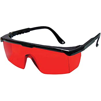 Bosch 57-GLASSES Laser View Enhancing Glasses with Adjustable Temple, Red Lens, Black Frame