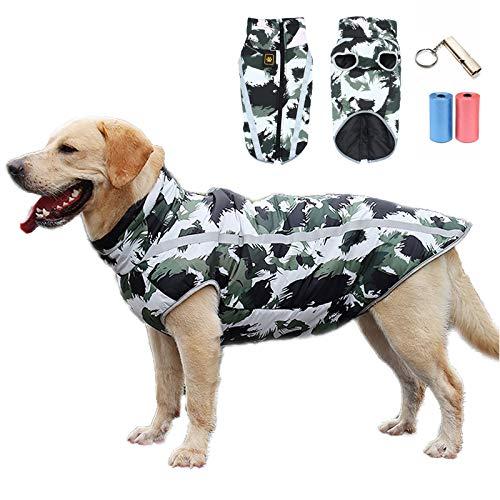 TVMALL Abrigo para Perros Chaqueta abrigadora de Invierno Reflectante Capa de Mascotas Chaleco para Perros Resistente al Viento Traje de esquí para Perros Apto para Perros medianos y Grandes (