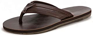BODATU Men's Flip Flops Athletic Leather Thong Sandals