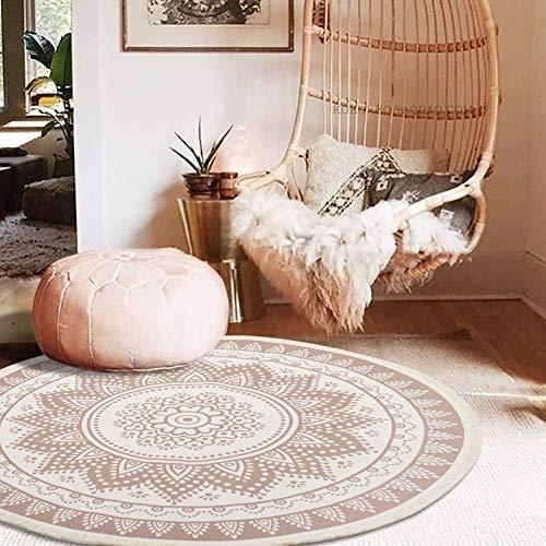 MeMoreCool Runder Teppich, In- und Outdoor Teppiche 120cm Boho Mandala Handwebte Baumwoll Vintage Teppich mit Quasten Waschbar, für Wohnzimmer Schlafzimmer Kinderzimmer Balkon