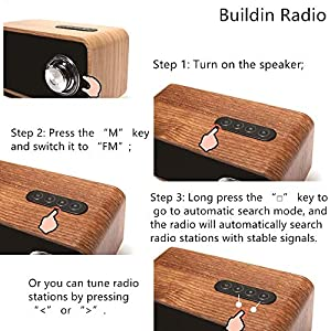 Bluetooth Speakers with Super Bass and Subwoofer Bluetooth Speaker Wooden, Portable 3D Stereo Music Sound Speaker with 10-Hour Playtime, Enhanced FM Radio for Home and Outdoor Party