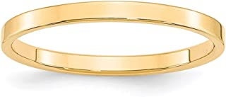 14k Yellow Gold 2mm Flat Wedding Ring Band Size 5.5 Classic Fine Jewelry For Women Gifts For Her