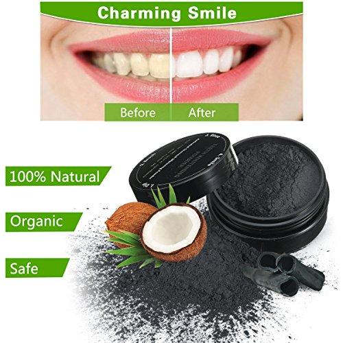 MEJOY Activated Charcoal Teeth Whitening Natürliches Aktivkohle Zahnaufhellung pulver, 59 g