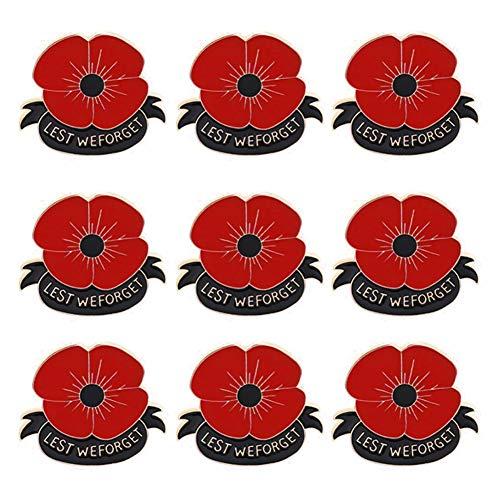 GEOOG Broche de amapola con diseño de flores rojas esmaltadas para el Día de los Veteranos, para el Día de los Veteranos, Día de Recuerdo, 9 unidades