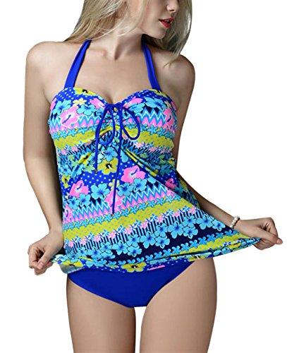 FEOYA - Traje de Baño Bikini de 2 piezas Bañador de Mujer Tallas Grandes Elástico Estampado Floral Ropa de Natación para Playa Fiesta de Piscina - Azul - Talla 3XL (ES 42-44)