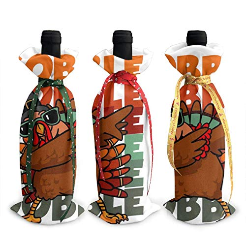 Dabbing Turkey 3Pcs Wine Bottle Cover Decoration Cover Bags for Christmas,Wedding,Holiday