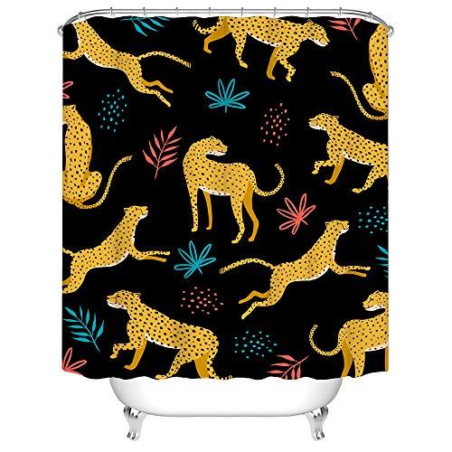 Dschungeltier-Duschvorhang, Stoff, hellgelb, Jaguar-Leopardenmuster mit tropischen Palmenblättern, Badvorhang, Wildtier-Vorhang für Badezimmer-Dekoration mit Haken, 183 x 183 cm, schwarz
