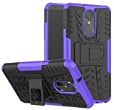 LG Stylo 4 Case, LG Q Stylus Case, LG Stylo 4 Plus, Yiakeng Dual Layer Shockproof Wallet Slim Protective with Kickstand Hard Phone Case Cover for LG Stylus 4 (Purple)