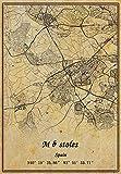Póster de mapa de España Móstoles para pared, diseño vintage, sin marco, 30,5 x 40,6 cm