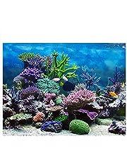 Fdit Póster de Fondo de Acuario con Fondo de PVC Adhesivo para decoración de arrecifes de Coral bajo el Agua