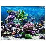 Cartel de Fondo del Acuario Cartel de Tanque de Peces Adhesivo de PVC Arrecife de Coral Bajo Agua Papel de Decoración Calcomanías Adhesivas Socialme-EU(91 * 41cm)