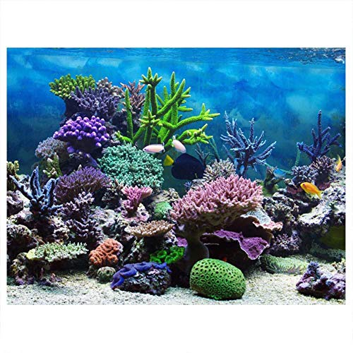 Cartel de Fondo del Acuario Cartel de Tanque de Peces Adhesivo de PVC Arrecife de Coral Bajo Agua Papel de Decoración Calcomanías Adhesivas Socialme-EU(76 * 30cm)