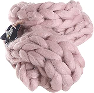 ⭐️ QIQIU Newest Women Super Coarse Soft Handmade Chunky Arm Knitted Blanket Cotton Thick Warm Scarves