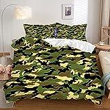 SLQL Juego de ropa de cama Anime Themed de diseño militar, 3 piezas, funda nórdica y 2 fundas de almohada de microfibra suave 135 x 200 cm