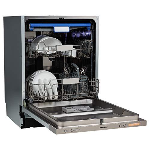 MEDION Geschirrspüler 60 cm, vollintegriert, Besteckschublade, Aquastopp, 8 Reinigungsprogramme, Turbotrockung, MD 37540