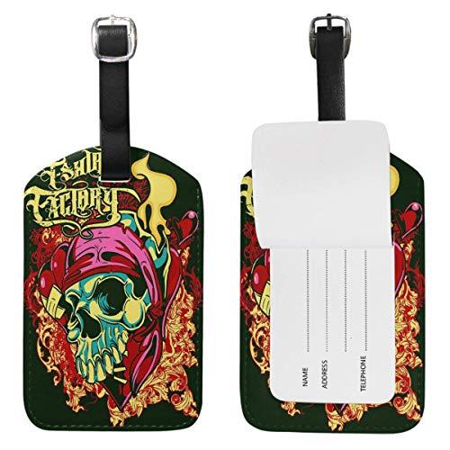 Etiquetas de equipaje de calavera de azúcar de fuego, bolsa de viaje de cuero, etiquetas de identificación de maleta, 1