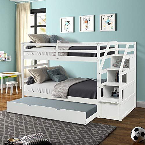 Learn More About Teeker Twin-Over-Twin Trundle Bunk Bed with 3 Storage Drwers (White)