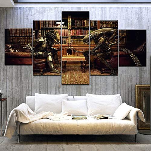 5 piezas de arte de lienzo Aliens Vs Predator ajedrez impreso arte de pared decoración del hogar lienzo pintura imagen póster e impresiones (size 1)