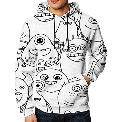 LanKa Kapuzenpullover 3D-Druck Doodle Monsters ausmalbilder Hoodies Pullover Sweatshirt Pockets Men,S