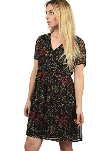 BlendShe Charlotte Damen Freizeitkleid Kleid Mit V-Ausschnitt Knielang, Größe:S, Farbe:Black Printed Flower (20111)