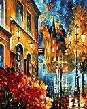 DIY Pintar por númerosLámpara de Calle Abstracta Paisaje Sala de Estar 40x50cm Sin Marco