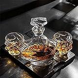 Decanter per vino in vetro fatto a mano, Decantatore e bicchieri di vetro del cranio Set di bicchieri di whisky personalizzato Set anter, 900 ml Bottiglia di vetro e sei bicchieri di liquori da 320 ml