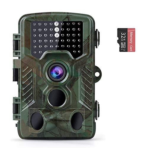 Coolife Trail Game Camera, 21MP 1080P Hunting Wildlife Camera with 3 Infrared Sensors 49Pcs IR LEDs Night Vision 0.2S Motion Activated IP67 Waterproof 2.4' LCD with 32GB Card