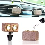 Car air Freshener Perfume Aromatherapy Essential Oil Diffuser for Car Vent Clip Diffuser 2Pcs (Natural Wooden)