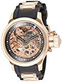 Invicta Men's Russian Diver Rose Gold Stainless Steel and Black Polyurethane Mechanical Watch, Rose...