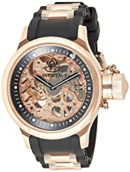 Invicta Men's Russian Diver Rose Gold Stainless Steel and Black Polyurethane Mechanical Watch, Rose Gold/Black (Model: 1090)