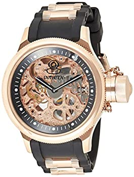 Invicta Men s Russian Diver Rose Gold Stainless Steel and Black Polyurethane Mechanical Watch Rose Gold/Black  Model  1090