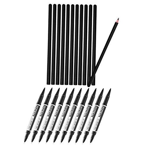 Bonarty 12 Stück Tattoo Stencil Transfer Bleistifte Body Art Zeichnung Skizzieren Mit 10 Stück Schwarz Permanent Marker Pen