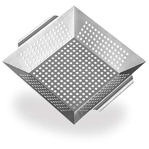 DIKER Grillkorb aus 100% Edelstahl - perfekt für Grillgemüse, Grillschale geeignet für alle Grillarten,Zubehör für Holzkohle-, Elektro- und Gas-Grill sowie Backofen   Spülmaschinenfest (Silber)