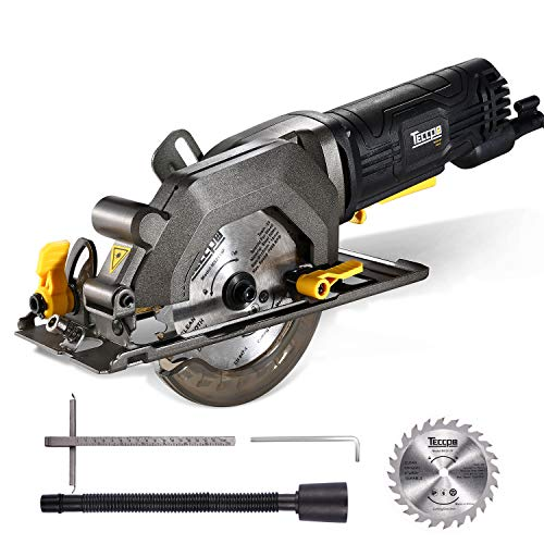 """TECCPO Circular Saw, 4 Amp 4-1/2"""" 3500 RPM Compact Circular Saw with 24T Carbide Tipped Blade for Wood Cutting, 7"""" Scale Ruler, Max Cutting Depth 1-11/16'' (90°), 1-1/8'' (45°) -TAMS25P"""