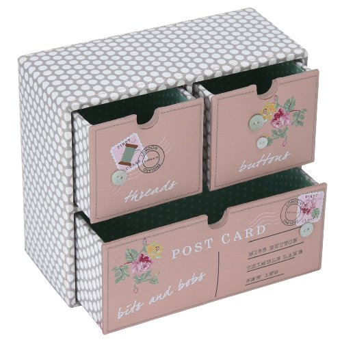 Button IT All My Love Mink Polka Dot Craft Storage Drawers with Teal Polka-Dot Lining