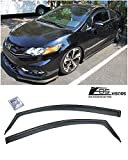 Extreme Online Store for 2012-2015 Honda Civic 2Dr Coupe   EOS Visors JDM in-Channel Style Smoke Tinted Side Vent Window Deflectors Rain Guards