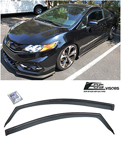 Extreme Online Store for 2012-2015 Honda Civic 2Dr Coupe | EOS Visors JDM in-Channel Style Smoke Tinted Side Vent Window Deflectors Rain Guards