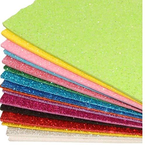 Zonfer Schwamm Glitters Foam Packpapier-DIY Fertigkeit Handgemachte Karte Dekoration Liefert Zufällige Farbe 2mmx20cmx30cm