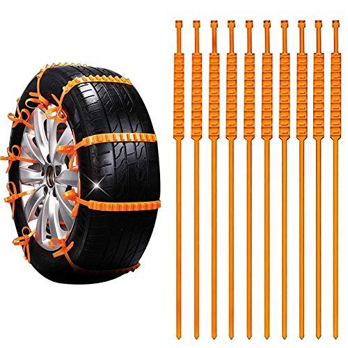 N\O 10 Piezas Cadenas Nieve Coche Universal Auto Emergencia Neumáticos Cadenas Antideslizante Cadena de Nieve de ABS Mejorada para La Mayoría de Los Camiones SUV para Automóviles