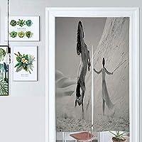 キッチンカーテン寝室間仕切りカーテン黒と白、砂漠の風景馬と女性のファンタジー風景のれん日本のカーテン戸口ドアカーテンコットンリネン