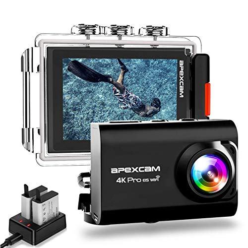 ApexcamAction Cam Pro【Aggiornato】4K 20MP Fotocamera EIS WIFI 2 Pollici Ultra HD Impermeabile 40M Sott'acqua con MicEsterno 2.4G Telecomando 170°Grandangolare due 1200mAh Batterie e il Kit Accessori